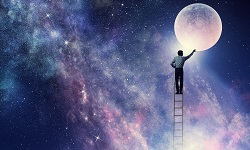 Man standing on ladder and reaching starry sky. Mixed media